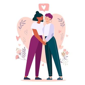 Couple de filles dessinées à la main voulant s'embrasser