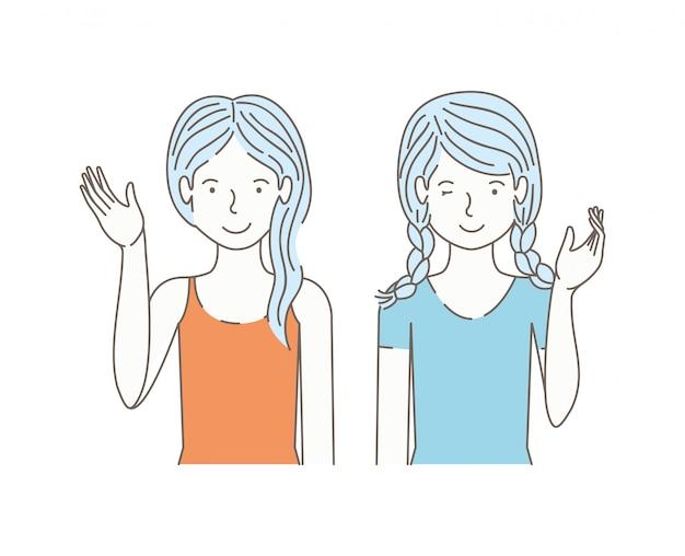 Couple de filles parlant des personnages d'avatars
