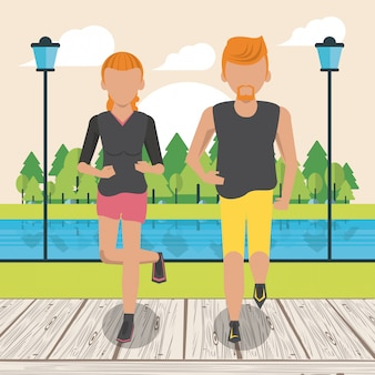 Couple fitness en cours d'exécution