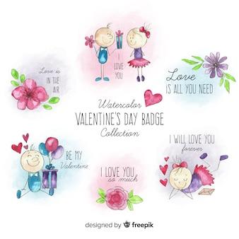 Couple et fleurs pack étiquette de la saint-valentin