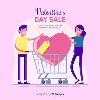 Couple de fond de vente valentine avec panier