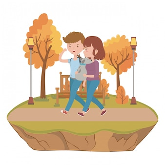 Couple de garçon et fille avec chien