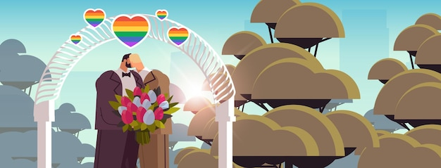 Couple gay de jeunes mariés avec des fleurs s'embrassant près de l'arche de mariage amour transgenre communauté lgbt célébration de mariage concept portrait illustration vectorielle horizontale