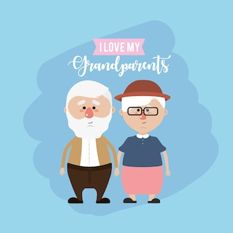 Couple de grands-parents et amour mignon