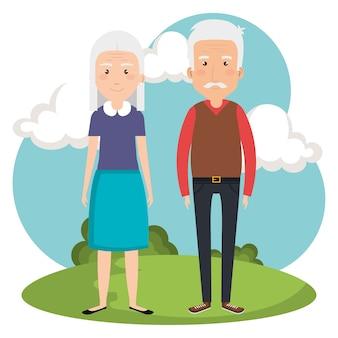 Couple de grands-parents dans les avatars du parc