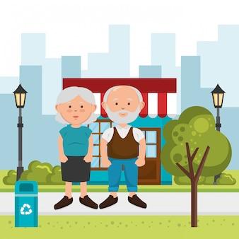 Couple de grands-parents dans la rue