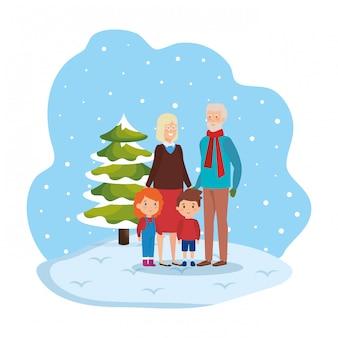 Couple de grands-parents avec enfants dans le paysage de neige