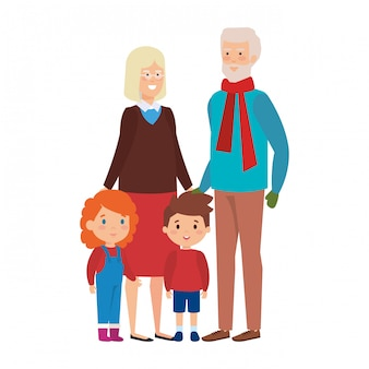 Couple de grands-parents avec enfants