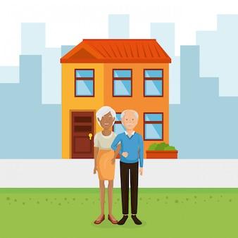 Couple de grands-parents loin de chez eux