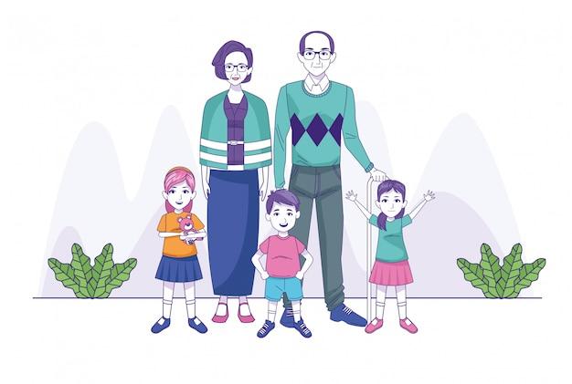 Couple de grands parents avec des personnages de la famille des enfants