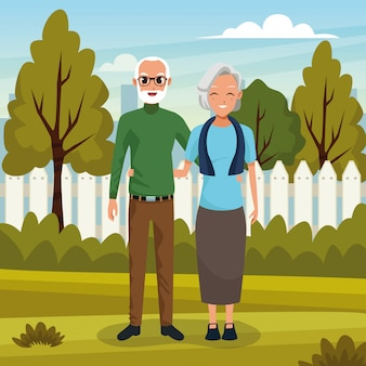 Couple de grands-parents souriant dans la bande dessinée nature