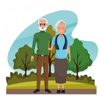 Couple de grands-parents souriant dans la bande dessinée nature