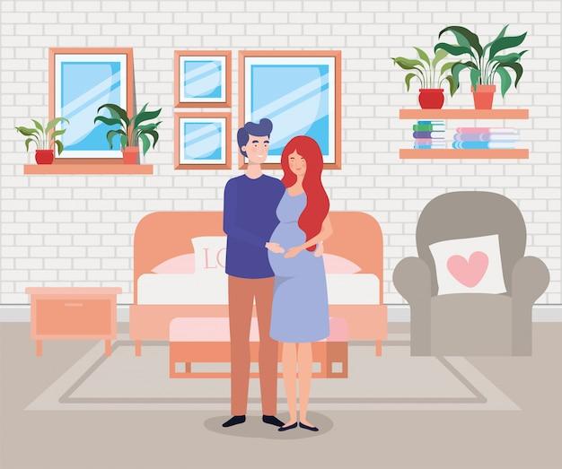 Couple de grossesse dans la scène de la chambre