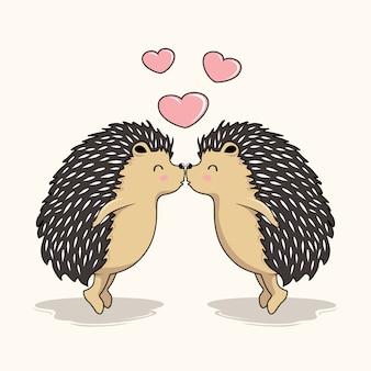 Couple hérisson amour baiser dessin animé porc-épic baisers