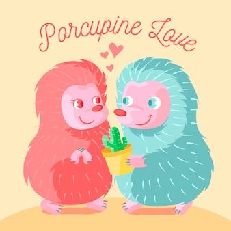 Couple de hérissons mignon saint valentin