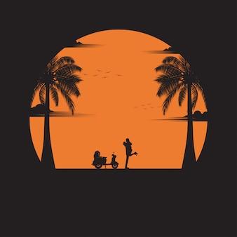 Couple heureux d'amour sur la plage de fond coucher de soleil