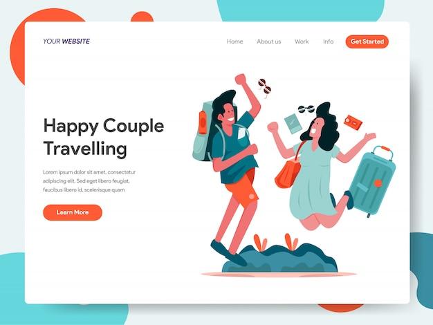 Couple heureux bannière de voyage pour la page d'atterrissage