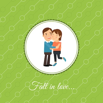 Couple heureux en carte d'amour