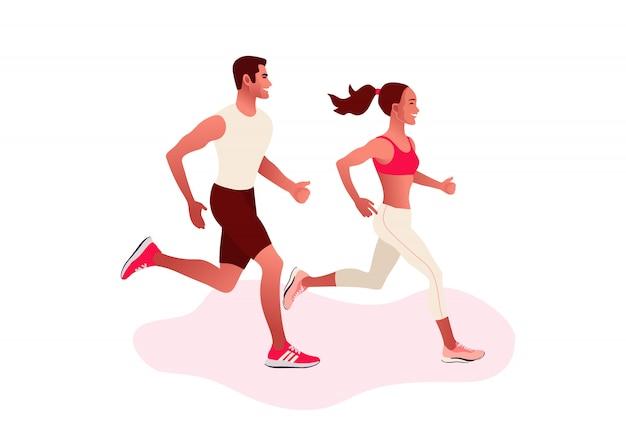 Couple heureux en cours d'exécution. homme et femme sur le jogging du matin. mode de vie actif et sain.