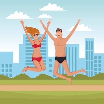 Couple heureux dans les dessins animés de l'été