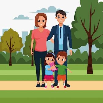 Couple heureux avec des enfants