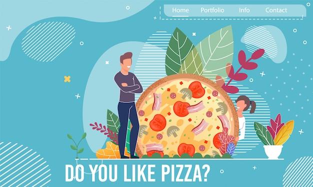 Couple heureux et énorme page de destination pour pizza