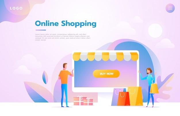 Couple heureux, faire des achats en ligne ensemble et porter des sacs