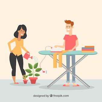 Couple heureux, faire le ménage