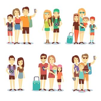 Couple heureux, famille, gens, touristes vectoriels, personnages de dessins animés itinérants. voyage en famille,