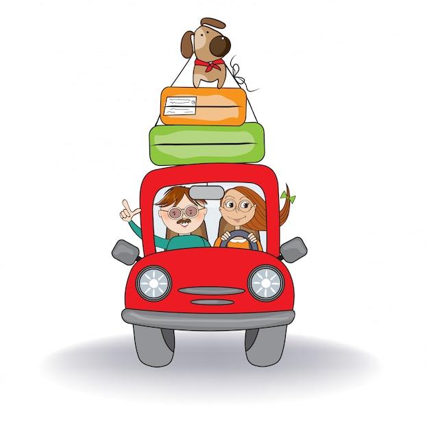 Couple heureux avec leur chien voyageant avec une drôle de voiture rouge. vacances d'été
