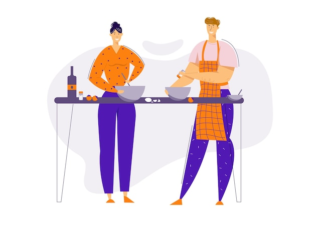 Couple heureux préparer la nourriture ensemble dans la cuisine. personnages homme et femme cuisinant à la maison. relations de famille.