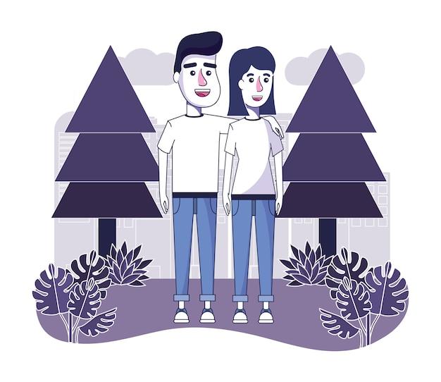 Couple heureux avec des vêtements décontractés dans le paysage