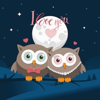 Couple de hiboux amoureux la nuit avec un message