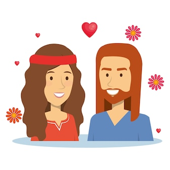 Couple hippie avec des coeurs et des fleurs