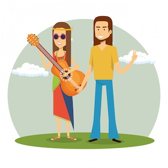 Couple hippie, jouer de la guitare