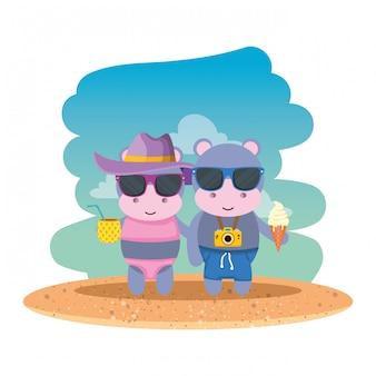 Couple d'hippopotames avec appareil photo et cocktail sur la plage