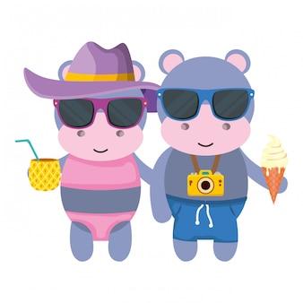 Couple d'hippopotames avec appareil photo et cocktail