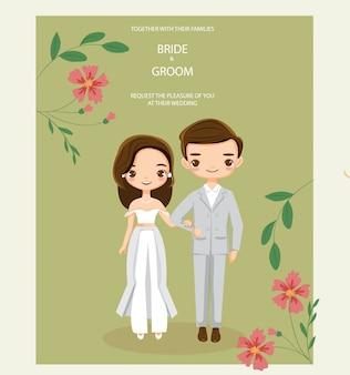 Couple de hipster mignon pour carte d'invitations de mariage