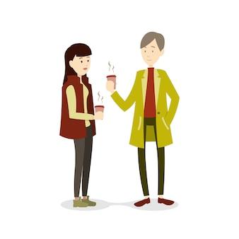 Couple en hiver buvant des boissons chaudes