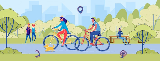 Couple homme et femme faire du vélo sur park road