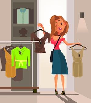 Couple homme femme personnages faisant du shopping ensemble
