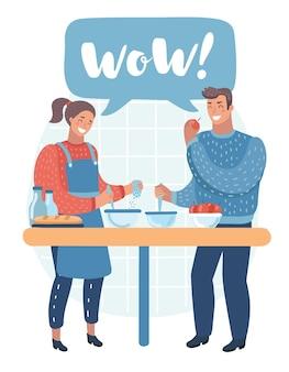 Couple homme et femme personnages préparant la nourriture ensemble vector illustration de dessin animé plat