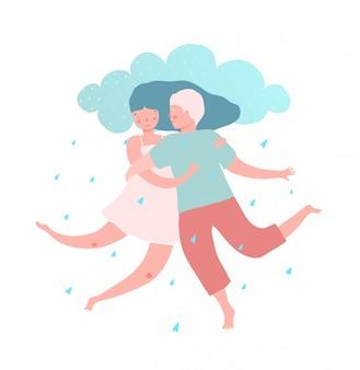 Couple homme et femme avec pluie d'amour