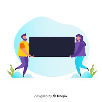 Couple homme et femme tenant un rectangle vierge