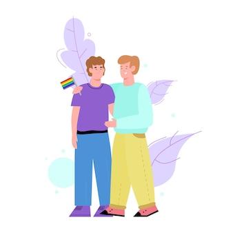 Couple homosexuel gay étreignant illustration de dessin animé plat