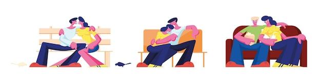 Couple hug assis sur un canapé à la maison, un banc dans le parc et un canapé au cinéma. relations romantiques, amour et temps libre de rencontres. aimer les personnages de loisirs, l'homme embrasse la femme. illustration vectorielle de gens de dessin animé