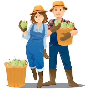 Couple d'illustrateur de fermier dans le concept de profession