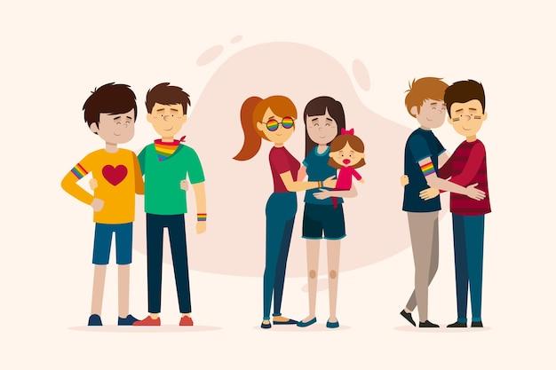 Couple d'illustration et famille sur le concept de jour de fierté