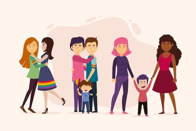 Couple d'illustration et famille sur la conception de la journée de la fierté
