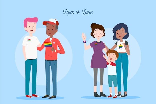 Couple d'illustration et famille sur le thème de la fête de la fierté